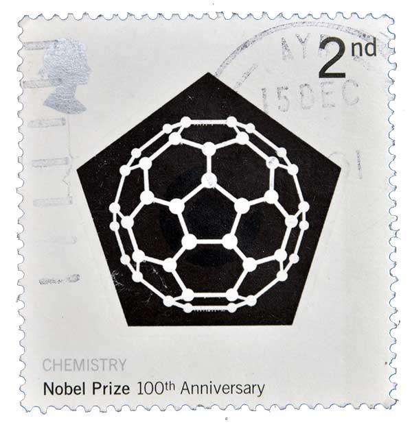Briefmarke zur Ehre der Entdeckung der Fullerene