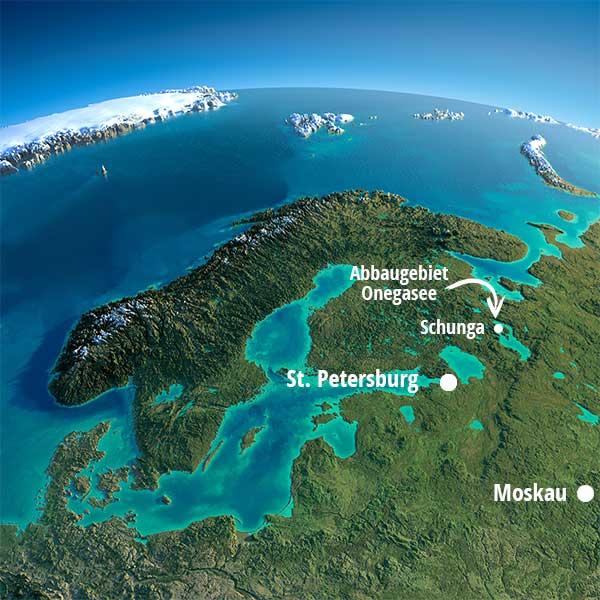 Satellitenbild Abbaugebiet des Schungits