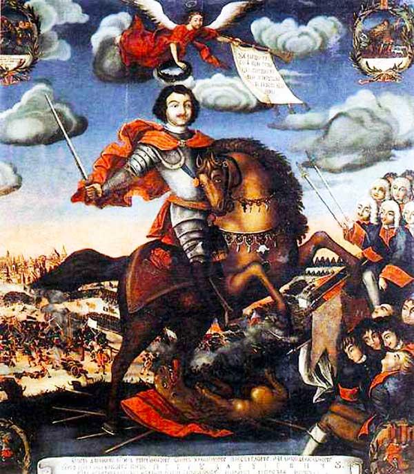 Siegreicher Peter d. Große in Schlacht bei Poltawa