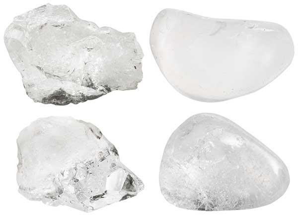 Bergkristall als Rohkristall und als sog. Trommelstein