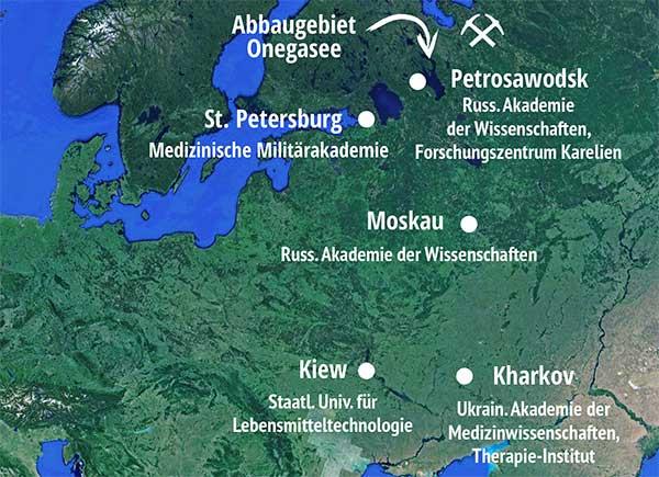 Landkarte mit wichtigen Forschungszentren und Forschergruppen zum Schungit
