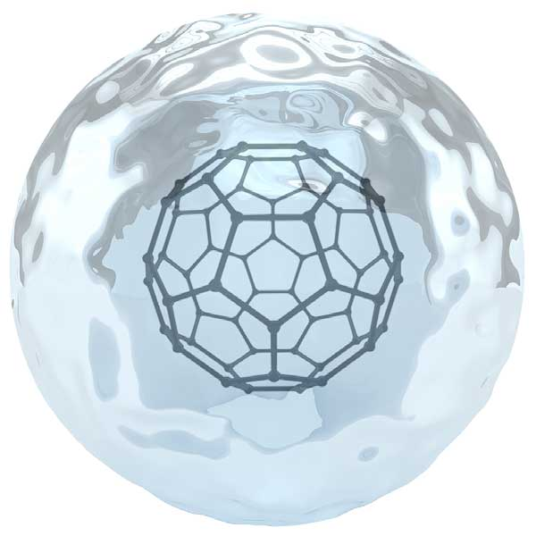 Fulleren umgeben von einer besonders strukturierten Wasserhülle