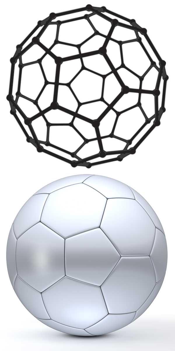 Fulleren C60-Molekül und Fußball