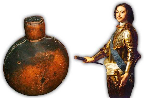 Russ. Feldflasche aus der Schlacht von Poltawa und Peter der Große