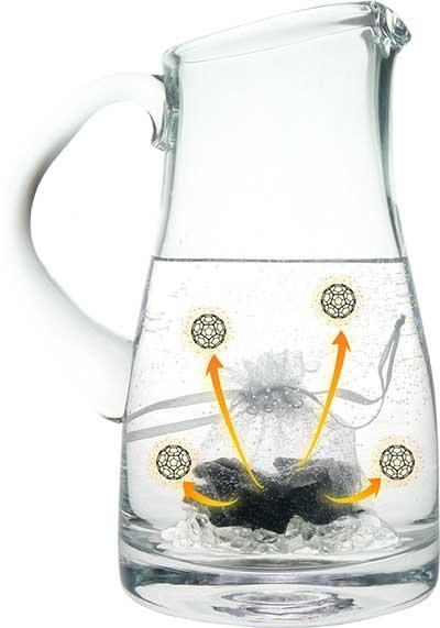 Krug mit Edelschungit-Wasser