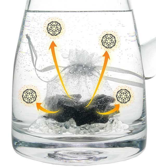 Hamoni® Edelschungit gibt Fullerene an Wasser im Krug ab