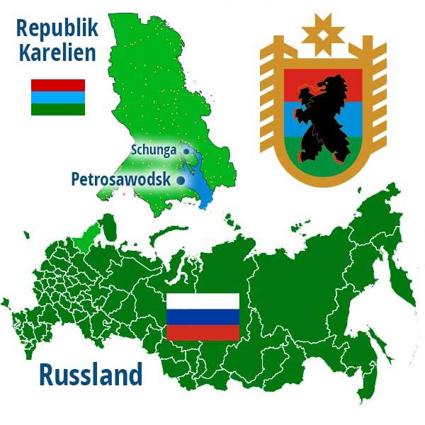 Infografik Landkarte und Wappen der Republik Karelien