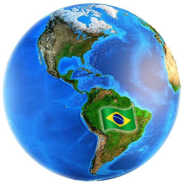Brasilien auf dem Globus